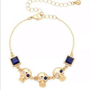 NWOT•Crystal & faux gem gold skeleton bracelet
